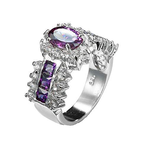 Beydodo Anillos de Compromiso Chapado en Plata Anillo Mujer Plata Compromiso Púrpura Flor Cristal con Circonita Púrpura Talla 15