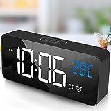 tronisky Digitaler Wecker, LED Digital Wecker Spiegel Tischuhr USB Wiederaufladbar Reisewecker mit 2 Alarmen/Snooze/Temperatur Anzeige/Sprachsteuerung Funktion, 4 Helligkeit, Schwarz