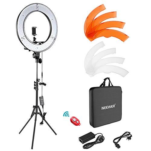 Neewer Caméra Photo Vidéo Eclairage Kit : 48cm Extérieur 52W 5500K Réglable LED Lumière Anneau, Trépied d'Eclairage, Récepteur Bluetooth pour Self-portrait Vidéo Tournage Smartphone, YouTube, Vine