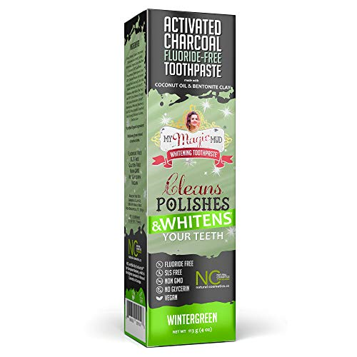My Magic Mud Charcoal Teeth Whitening Toothpaste, Verified Enamel Safe & Clinically Proven, Organic Coconut Oil, Essential Oils, Fluoride-Free, Vegan, Black Tooth Paste, (4oz) (Wintergreen, 1-Pack)