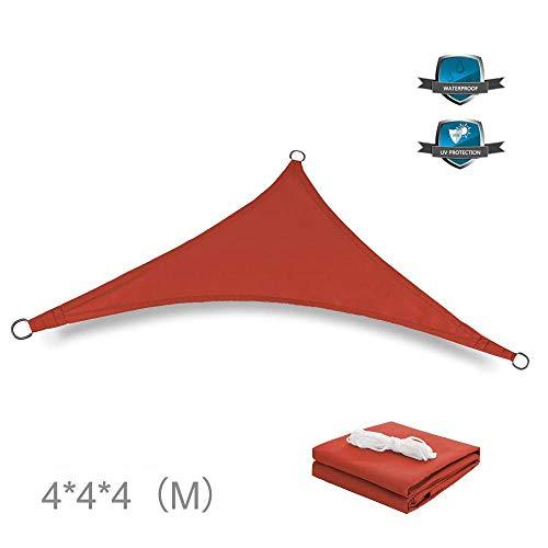 applemi Vela de Sombra, Canopy De Vela Sun Shade Resistente Al Agua para La Piscina del Patio del JardíN, Canopy del Toldo del Bloque del 98% UV-Rojo_4x4x4m