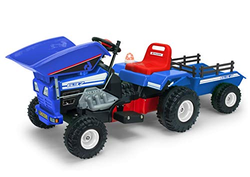 INJUSA - Tractor Dump Track de 12V con Volquete y Remolque y Luces y Sonidos Recomendado para Niños +3 Años