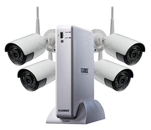 Lorex Weatherproof Indoor/Outdoor WiFi Home Surveillance Security System, 1080p HD Cameras with Night Vision (4 Pack) – Includes 4 Channel HD 2K Wire-Free NVR w/ 1 TB Storage Hard Drive