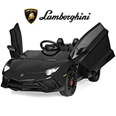 REALISTIC DESIGN: Officially-licensed Lamborghini Aventador sports car with doors that swing up like a real Lamborghini, a built-in horn, and LED headlights CONNECT YOUR MUSIC: A built-in AUX outlet allows kids to plug in media devices to drive while...