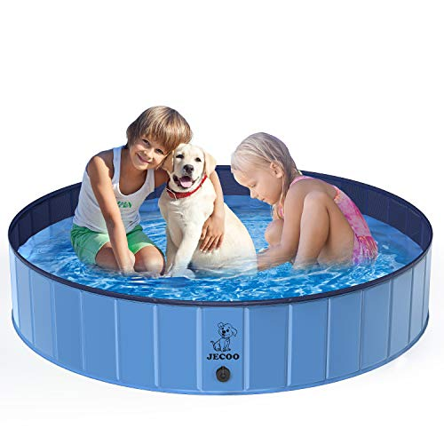 Jecoo Kiddie Pool, L- 63' x 12' Kids Pool Portable Dog Pet Bath Tub Foldable Hard Plastic PVC Wading Pool Extra Large Dog Pool for Large Dogs, Leakproof Dog Swimming Baby Pool Indoor and Outdoor