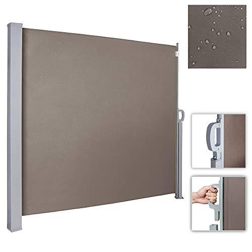 wolketon Seitenmarkise-160 x 300 cm Brau TÜV,geprüft UV,Reißfestigkeit,seitlicher Sichtschutz sichtschutz,für Balkon Terrasse ausziehbare markise