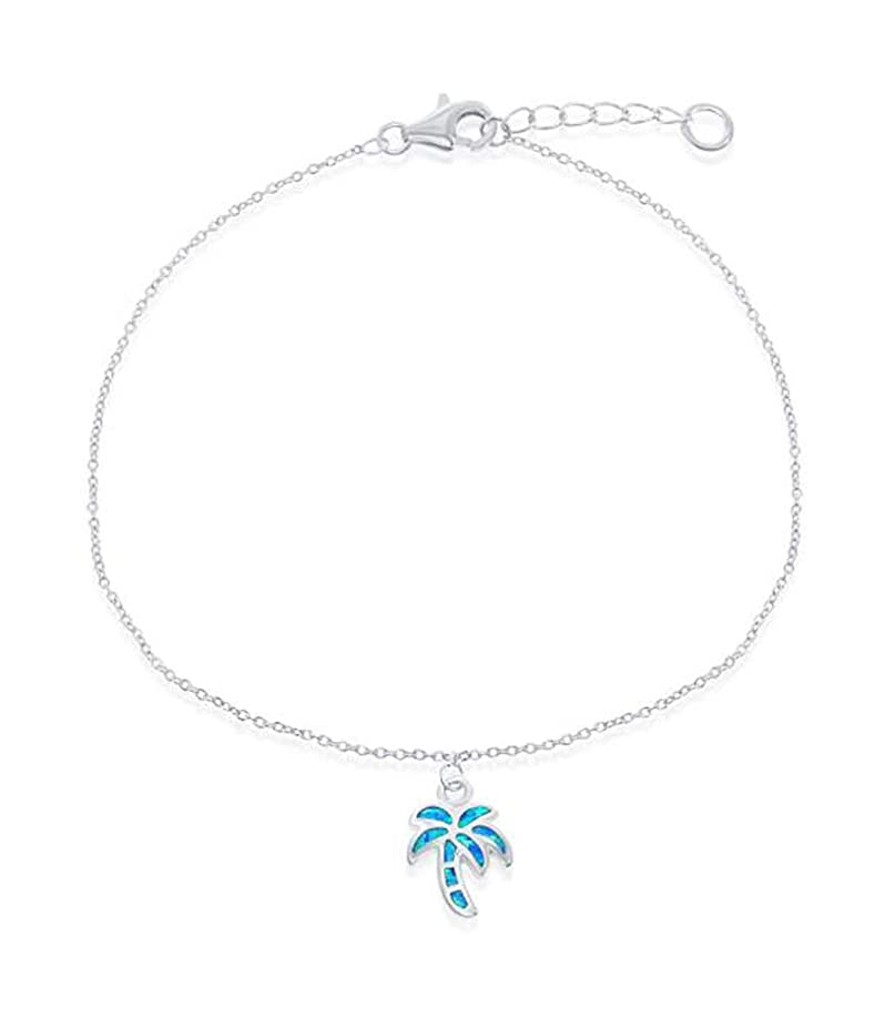 Sterling Silver 9 inch to 10 inch Adjustable Ankle Bracelet with Synthetic Blue Opal Palm Tree