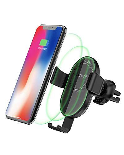 BlitzWolf Caricatore Wireless Auto Rapida Caricabatterie Senza Fili da Auto Porta Telefono Sensore di Gravità 7,5W per iPhone XS MAX/8/8 +, 10W per Galaxy S10/S8/Nota 9, 5W per Qi Telefono Abilitato