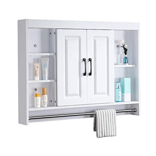 HIZLJJ Bathroom Wall Cabinet, Over The Toilet Space Saver Storage Cabinet Kitchen Medicine Cabinet Double Door Cupboard with Adjustable Shelf and Towels Bar (Size : S)