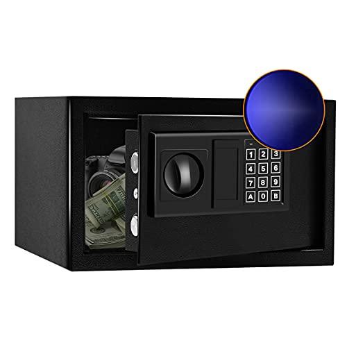 SamYerSafe Safe Box with Sensor Light, Fire Resistant Security Lock Box, Steel Construction Hidden...