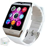 Bluetooth Smart Watch SIM Card Slot Camera Smartwatch Sports Fitness Tracker Wristwatch Compatible with Women Men Girls Boys Android Phones Samsung Galaxy S9 S8 S7 S6 Note 8 9 10 HTC Motorola White