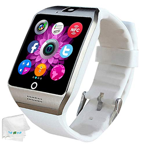 Bluetooth Smart Watch SIM Card Slot Camera Smartwatch Sports Fitness Tracker Wristwatch Compatible with Women Men Android Phones Samsung Galaxy S9 S8 S7 S6 Note 8 9 10 HTC Motorola White