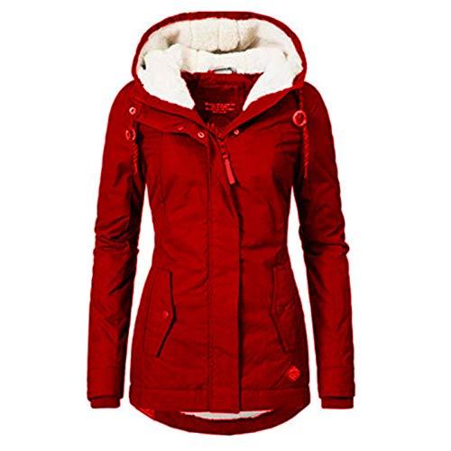 jieyun Manteau à capuche pour femme, imperméable à l'eau, doublure en polaire épaisse en coton chaud, manteau d'hiver en peluche, veste à capuche rembourrée, noir/rouge