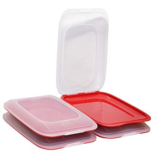 ENGELLAND - Hochwertige stapelbare Aufschnitt-Boxen, Frischhaltedose für Aufschnitt. Wurst Behälter. Perfekte Ordnung im Kühlschrank, 4 Stück Farbe Rot, Maße 25 x 17 x 3.3 cm