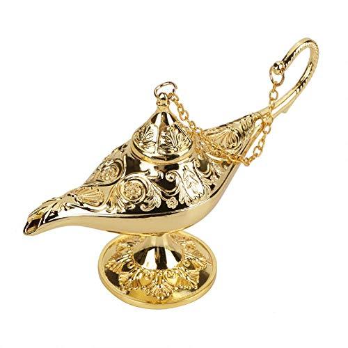 Sorand Lámpara de Aladín, luz de Aladdin Magic Genie Light Metal Tallado lámpara de Leyenda lámpara de Pot Decoración Vintage Decoración de Mesa Manualidades Fiesta Halloween Cumpleaños(Dorado)