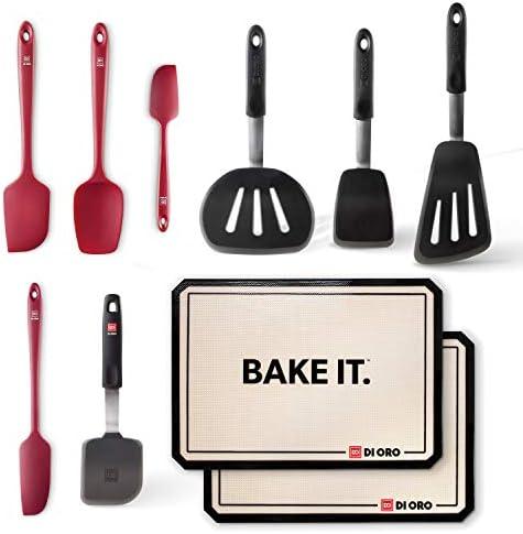 DI ORO Baker s Bundle 10 Piece Silicone Kitchen Utensil Set 4 Red Seamless Silicone Spatulas product image