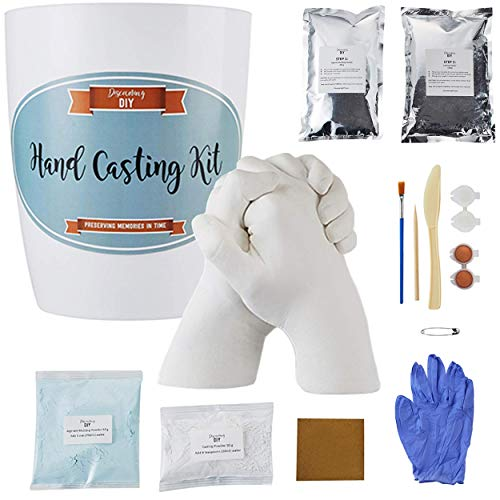 Greener Mindset Hand Casting Kit - DIY Gift for Couples,Wedding, Anniversary, Family & Kids - Plaster Hand Mold Kit w/Gloves, Paints & Tools