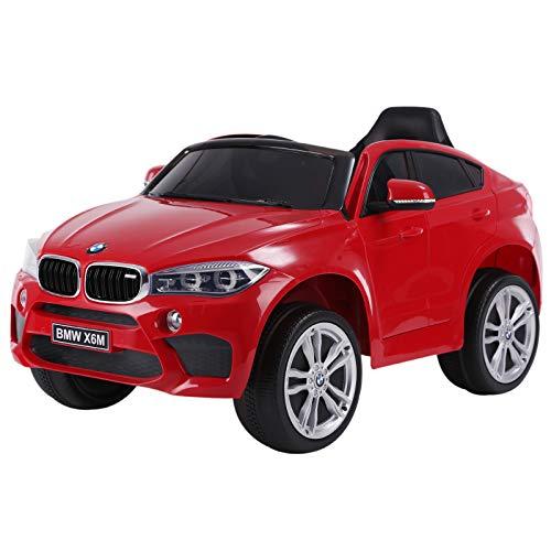 HOMCOM Coche Eléctrico para Niño BMW X6M 3 Años+ con Mando a Distancia con Música y Luces Doble Apertura de Puerta Batería 6V Carga 30kg