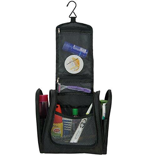 Trousse de toilette de voyage, trousse cosmétique portable à suspendre avec crochet. Grande trousse XL noire pour homme, femme, enfant, fille ou garçon, bébé.