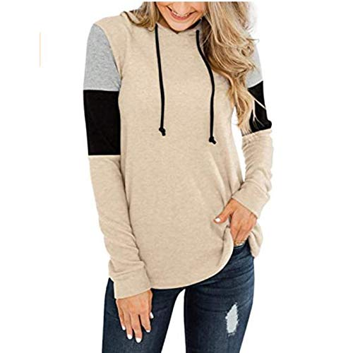 iYBWZH Women's Fashion Casual Hooded Tops Casual Long Sleeve Color Block Loose T Shirt Tops Khaki