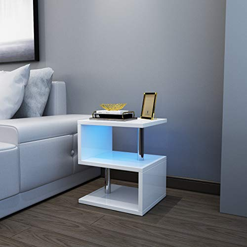 YOLEO Beistelltisch weiß, Sofatisch Nachttisch mit LED, Couchtisch Betttisch 3 Ebenen für Wohnzimmer, Schlafzimmer, Flur, Büro 52x44x38 cm (1)