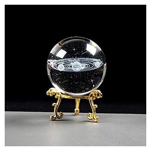 Globo de Cristal Sistema Solar Bola de Cristal fantástico Bola del Estilo 3D Grabado Astronomía Planetas Bola Decoración Modelo cósmico (Color : Ball with Gold, Talla : 8 cm)