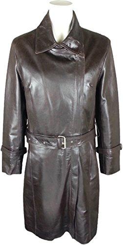UNICORN Mujeres Encuadre de tres cuartos chaqueta - Real cuero Capa - Glaseado Marrón #J3