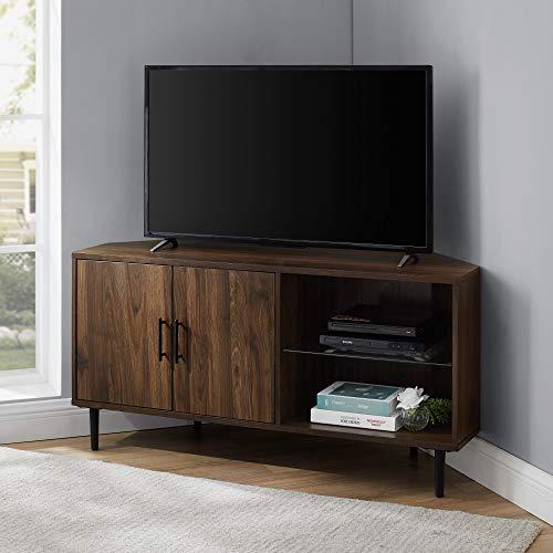 Walker Edison 2 Door Glass Shelf Corner Stand Console, fits TVs up to 55', 48, Dark Walnut