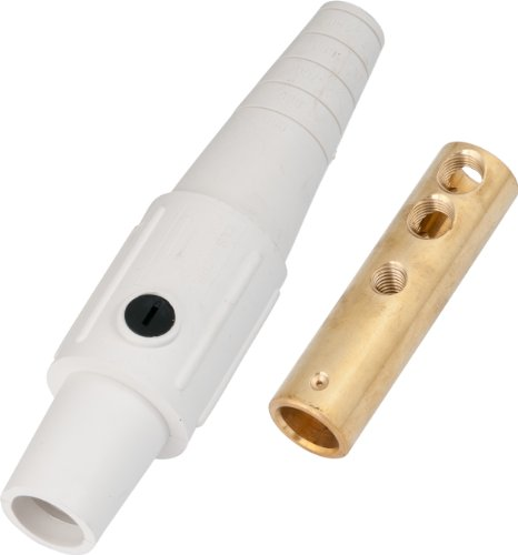 Marinco CLS2FB-B CLS Cam Type, Series 16 Inline, Single Pin Connector, 400 Amp, 600 Volt, 6 - #2 AWG, Female - White (B)