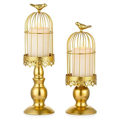 Sziqiqi Portavelas de Columna Candeleros de Retro con Forma de Jaula de Pájaro, Decoraciones para la Mesa de Boda Centro de Mesa Navideño Candelabros Decorativos de Velas Candelabros de Mesa, Oro