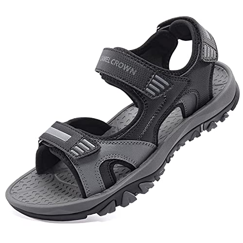 CAMEL CROWN Herren Sandalen Outdoor Sports Wandersandalen Sommer Strand Wasserschuhe Trekking Wandern Schuhe Klettverschluss Grau Größe 45
