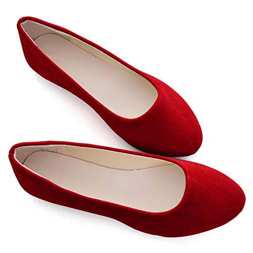 Stunner Women Cute Slip-On Ballet Shoes Soft Solid Classic Pointed Toe Flats, Red, 9