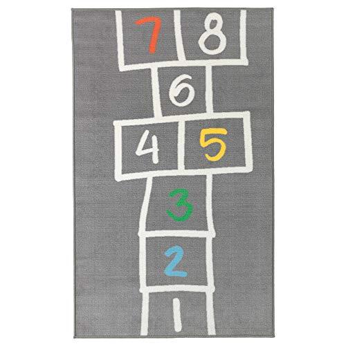 KZT Teppich, Grau, 100 x 160 cm, mit Hopscotch auf Einem oder Zwei Beinen, hilft Ihrem Kind, sowohl motorische als auch balancierte Fähigkeiten zu entwickeln.