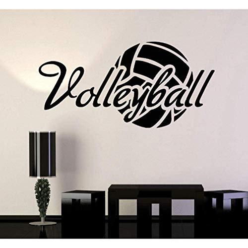 Vinyl Wandtattoo Volleyball Ball Wort Sport Aufkleber Wandbild 44X88Cm