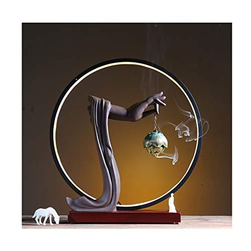 Tenedor de sandince de púrpura Ligero LED, Quemado a Mano de la Mano de la Mano de la Mano de Buda, la Sala de Estar/del Porche/de la Oficina/de Yoga/Ceremonia de té y Otros Adornos