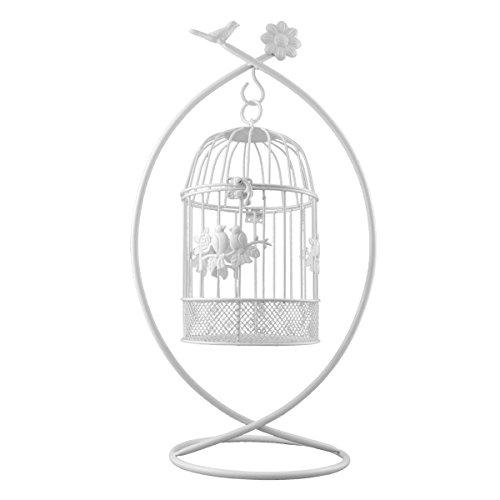 PrimoLiving P-470 - Gabbia per uccelli in metallo con supporto, colore: Bianco