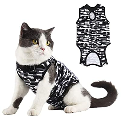 Due Felice Cat Professional Surgical Recovery Suit for Abdominal Wounds Skin Diseases, After Surgery Wear, E-Collar Alternative for Cats Dogs, Home Indoor Pets Clothing Gray Mosaic S