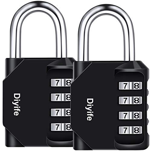 Diyife 2er Pack 4-Stelliges Zahlenschloss, Kombinationsschloss, Vorhängeschloss, Wetterfestes Metall & Plated Steel Combination Lock für Schule, Gym & Sports Locker, Hasp Cabinet & Storage