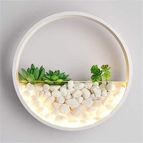 Despeje Luz de pared interior moderno moderno simple nórdico creativo simulado plantas redondo blanco labrado hierro de pared lámpara de pared LED cálida luz 25w con decoración de piedra para la sala