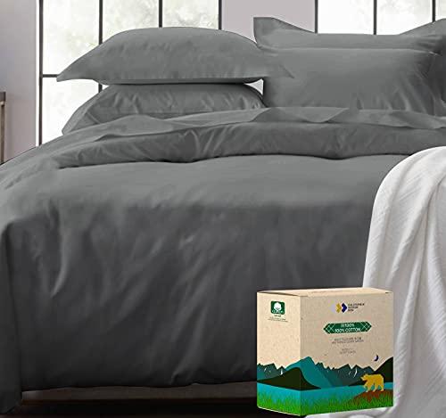 贅沢なシングルの羽毛布団カバー、最も柔らかい400スレッドカウント、綿100%の高密度ソフト生地、自然な通気性、クールとヘルシー、オールシーズン、洗濯機で洗える、掛け布団カバ & ふとんカバー シングル(150x210cm、ダークグレー