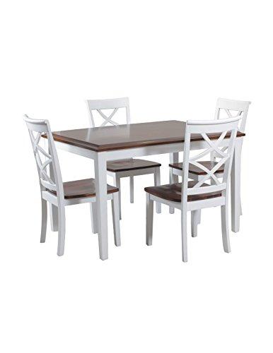 Powell 5 Piece Harrison Dining Set, Cherry/White