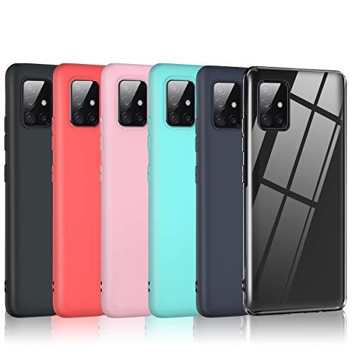Bkeke 6 x Funda Samsung Galaxy A51 5G, 6 Unidades Caso Juntas Fina Silicona TPU Flexible Colores Carcasas Samsung Galaxy A51 5G - Transparente, Rosa, Menta Verde, Rojo, Azul Oscuro, Negro