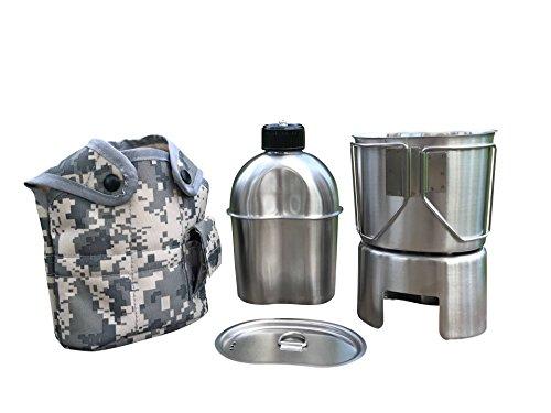 Jolmo Lander Militaire Bouteille d'eau en Acier Inoxydable Camping Quart armée, Gourde en Acier Inoxydable 1.2L + Quart 0.8L +poêle + Housse