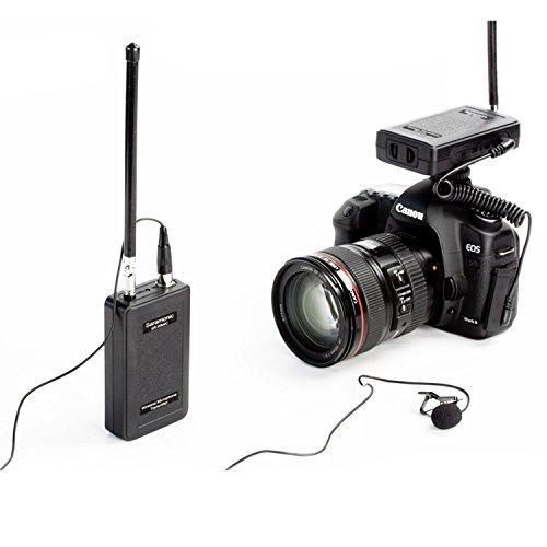 Micrófono de solapa inalámbrico, Saramonic sistema de micrófono con clip de solapa para IOS iPhoneX 8 7 7 plus 6 Smartphone iPad y Canon Nikon Cámaras DSLR Sony Videocámara DV para entrevista Vblog