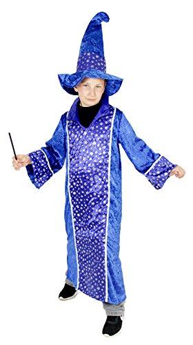 Foxxeo Blaues Zauberer Kostüm für Kinder Karneval Fasching Magier Merlin Party Jungen Mädchen Größe 122-128