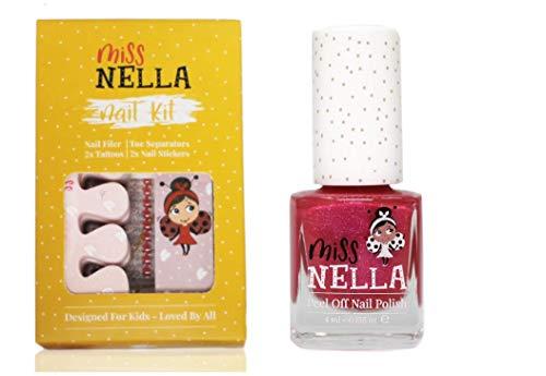 Miss Im Set Nagellack- und Nagellack-Zubehör für Kinder + Miss im Nagellack Tickle me Pink - Peel Off Nagellack, Nagelaufkleber, Tattoos, Nagelfeile und Zehentrenner