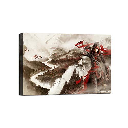 Assassin's Creed Chronicles China Leinwandbild Poster und Wandkunst Familie Schlafzimmer Dekor, gerahmt, 12x18inch