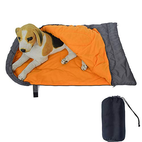Alchilalart Dog Sleeping Bag, Large Portable Dog Bed with Storage Bag, Waterproof Warm Packable Dog Bed for Indoor Outdoor Camping Hiking Backpacking Orange