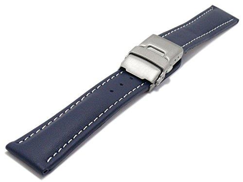 Meyhofer Uhrenarmband Milas 20mm dunkelblau Leder glatt helle Naht Titan-Faltschließe MyHekslb88-20mm-dblau-hN-TiFS