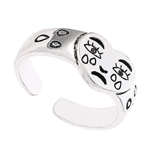 Happyyami Novelty Ring Band Sterling Silver Open Ring Finger Jewelry Vintage Sad Sad Sad Sad Retro Adjustable Ring for Women Girls
